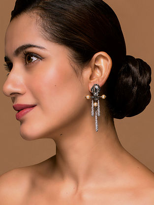 Tarun Tahiliani- Luminescent Deco Top Pave drop Earrings Made with Swarovski Crystals & pearls