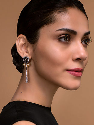 Tarun Tahiliani- Luminescent Pave Drop Studs Made with Swarovski Crystals & pearls