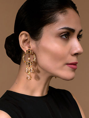 Tarun Tahiliani- Luminescent Statement Deco Earrings Made with Swarovski Crystals & pearls
