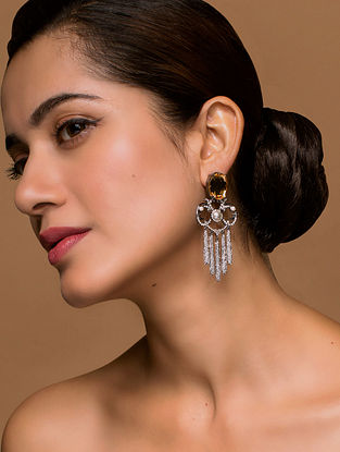 Tarun Tahiliani- Luminescent Fringe Danglers Made with Swarovski Crystals & pearls