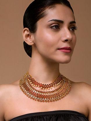 Tarun Tahiliani- Luminescent Statement Tasselated Necklace Made with Swarovski Crystals & pearls