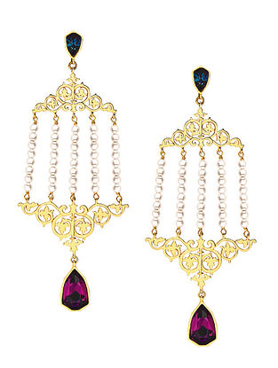 EINA AHLUWALIA-FE Double Vine Earrings Made with Swarovski Crystals