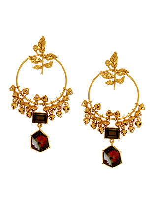 Confluence Crystals from Swarovski Suhani Pittie Tribal Leaf Circular Earrings