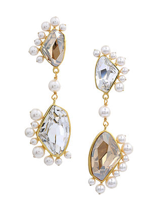 Confluence Crystals from Swarovski Isharya Desert Pearl Clear Libra Earrings
