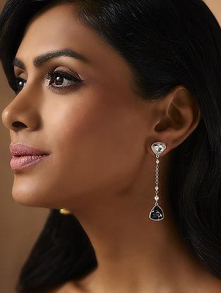 Confluence Crystals from Swarovski Isharya Desert Pearl Black Diamond Cocktail Earrings