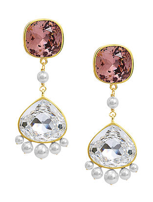 Confluence Crystals from Swarovski Isharya Desert Pearl Classic Rose Earrings