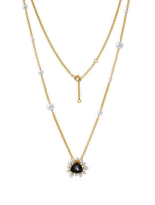 ISHARYA- Desert Pearl Black Diamond Necklace Made with Swarovski Crystals & pearls