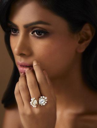 Confluence Crystals from Swarovski Isharya Desert Pearl Open Topaz Ring