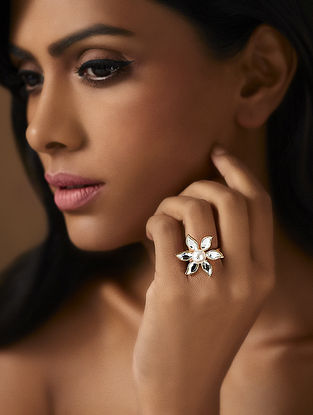 Confluence Crystals from Swarovski Isharya Desert Pearl Flower Ring