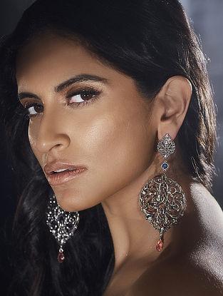 Confluence Crystals from Swarovski Eina Ahluwalia Persian Jaal Drop Silver Tone Earrings