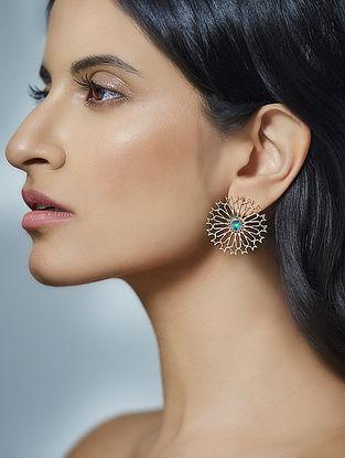 Confluence Crystals from Swarovski Eina Ahluwalia Mughal Stud Green Earrings