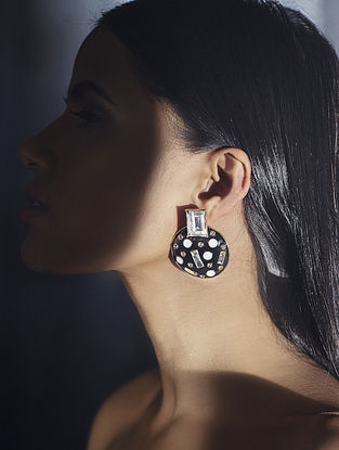Confluence Crystals from Swarovski Shivan and Narresh Monochrome Abstract Earrings