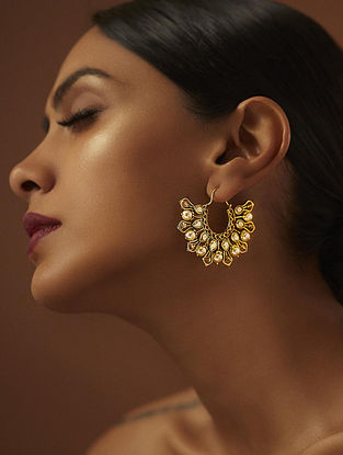 TARUN TAHILIANI-Tarakanna Hoop Earrings Made with Swarovski Crystals & pearls