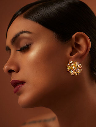TARUN TAHILIANI-Tarakanna Floral Studs Made with Swarovski Crystals