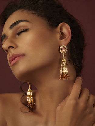 SUNEET VARMA- Enchanted Forest Tassel Earrings Made with Swarovski Crystals & pearls