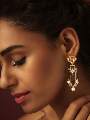 SUNEET VARMA- Enchanted Forest Victorian drop Earrings Made with Swarovski Crystals