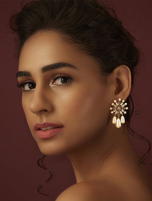 SUNEET VARMA- Enchanted Forest Floral Earrings Made with Swarovski Crystals & pearls