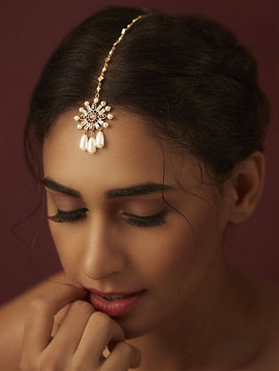 SUNEET VARMA- Enchanted Forest Floral Maang Tikka Made with Swarovski Crystals & pearls