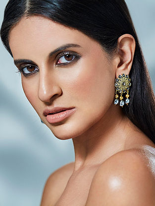 Confluence Crystals from Swarovski JJ Valaya Ranas of Kachch Earrings with Floral Design