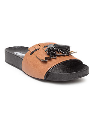 Black Brown Handcrafted Leather Slip Ons