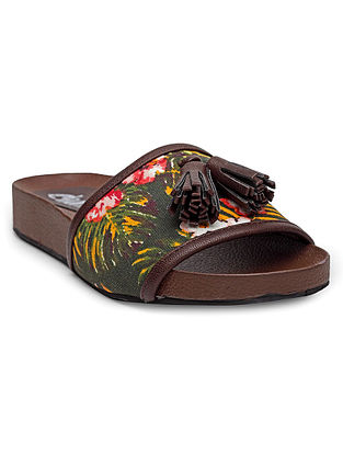 Green Tropical Handcrafted Leather Slip Ons