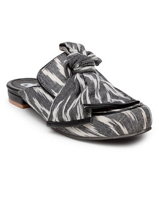 Grey White Handcrafted Woven Mules