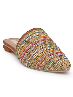 Multicolored Handcrafted Zyna Cane Mules