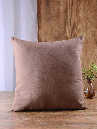 Brown Cotton Cushion Cover (16in x 16in)