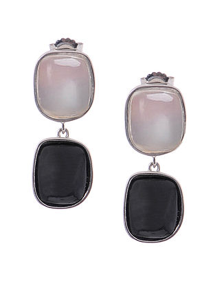 White Chalcedony and Black Onyx Silver Earrings