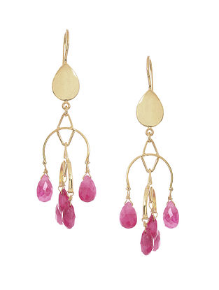 Ruby Gold-plated Silver Earrings
