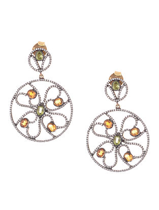 Citrine and Emerald Gold-plated Silver Earrings