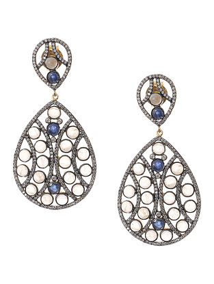 Blue Sapphire and Moonstone Gold-plated Silver Earrings