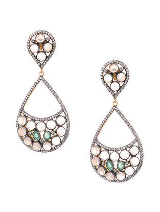 Rose Quartz and Emerald Gold-plated Silver Earrings