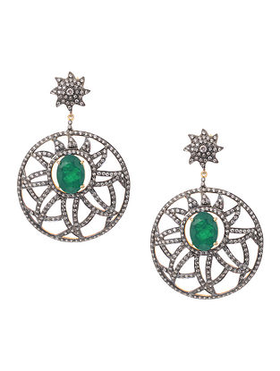 Green Doublet Gold-plated Silver Earrings