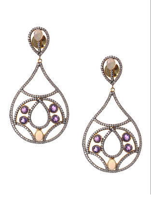 Amethyst and Opal Gold-plated Silver Earrings