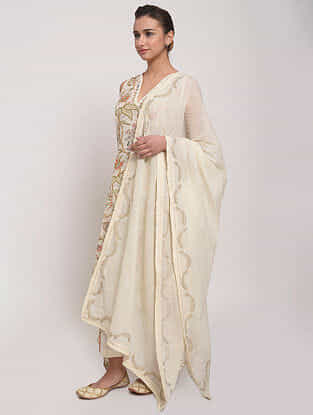 Ivory Hand-Embroidered Mul Dupatta