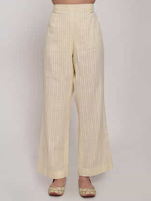 Ivory Striped Cotton Palazzos