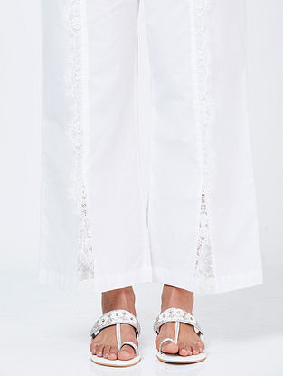 Ivory Cotton Palazzos with Lace Detail