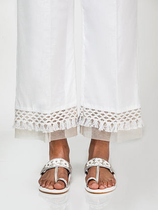 Ivory Cotton Palazzos with Tassels