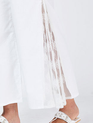 Ivory Cotton Palazzos with Thread Work