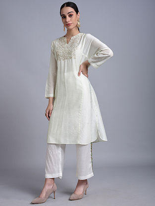 Sage Hand Embroidered Chanderi Kurta with Zari and Lace Detailing