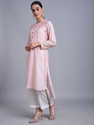 Pink Hand Embroidered Chanderi Kurta with Zari and Thread Detailing