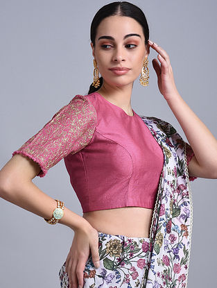 Pomegranate Hand Embroidered Chanderi Blouse with Zari and Lace Detailing