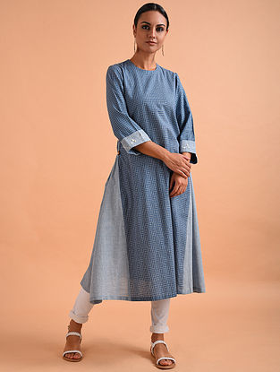Blue Embroidered Handloom Cotton Kurta