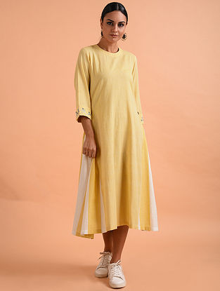 Yellow Ivory Embroidered Handloom Cotton Dress
