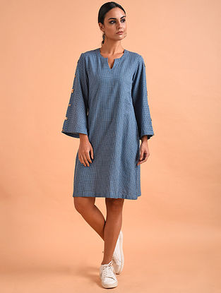 Blue Handloom Cotton Dress