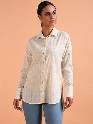 Ivory Block Printed Cotton Shirt