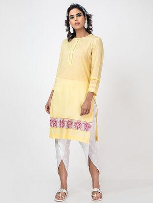 Yellow Hand Embroidery Lawn Cotton Kurta