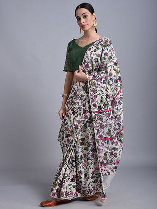 Lemon Printed Mul Saree with Lace Detailing