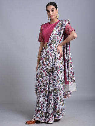 Ivory Printed Mul Saree with Lace Detailing